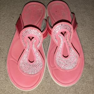 Clarks Pink Sequined Thong Sandals